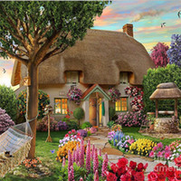Wholesale Painted Resin Kit - New DIY 5D Mosaic Diamond Painting Cross Stitch kits scenery forest house full Resin square Diamonds Embroidery needlework Home Decor zf0031