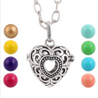 Wholesale Charm Sound - Hot sale fashion charm Pregnant women prenatal education sound bead necklace Fashion heart-shaped alloy hollow out the bell pendant necklace
