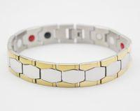 Wholesale Tourmaline Power Bracelet - Negative ion magnetic germanium bracelet steel man germanium and tourmaline health therapy bracelet japan power bracelet gold