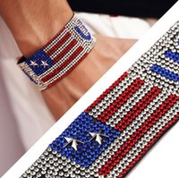 Wholesale Singapore Flag - Fashion Stars Brand Hot Drilling USA Bracelet Bangle Hand Belt With Fully Bling Rhinestone Hip Hop Jewelry For Men's Gift TOP1838