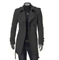 casacos longos para homens venda por atacado-Outono Inverno Mens Longo Casaco de Pea Casaco de Lã dos homens Turn Down Collar Double Breasted Homens Trench Coat Livre Shiiping