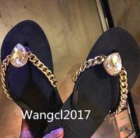 Wholesale Leather Shiny Pvc - 2017 newest sandal shiny glod rhinestone flat shoes thong sandal flat shoes fashion women's summer sandal