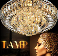 Wholesale Contemporary Crystal Ceiling Light Fixtures - Contemporary Round Crystal Chandeliers Surface Mount Ceiling Lamp E14 Led Glass Hanging Lights Fixtures Kitchen Living Room Bedroom LLFA