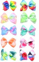 Wholesale Rhinestone Bow Center - 20 Pcs Lot 5 Inch Girls Gradient Rainbow Geometric Ribbon Bow With Clip Bowknot Center With Rhinestone Barrettes Beautiful HuiLin AW28