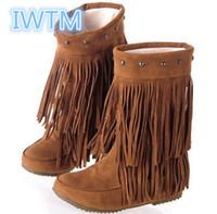 püskül düz topuk ayakkabıları toptan satış-Toptan-2016 İlkbahar Kadın Sonbahar 3 Katmanlı Saçak Püsküller Düz Topuk Çizmeler Diz Çizmeler Büyük Boy Ayakkabı 35-43 Kar Botları IWTM-8356