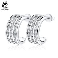 Wholesale Newest Earrings Style - Orsa Jewelry Elegant Small Hoop Earrings,3 Rows Austrian Crystal&S925 Sterling Silver Material,Newest Style OE06