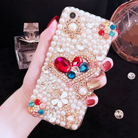 Wholesale Pear Phones - for iphone 5 5s se 6 6s 7 8 plus X Crystal Heart Diamond pear Chain glitter phone case cover