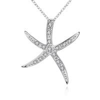 925 starfish anhänger großhandel-Glänzende Kristallstarfish-Halsketten 925 versilbern O-Ketten-passende hängende Halsketten-Art- und Weisefrauen-Damen-Halskette Freies Verschiffen