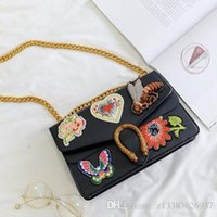 Wholesale Heart Shaped Coin Purse - 2017 Women Messenger Bag PU Leather Embroidered flowers heart shaped Flap Bag Shoulder Crossbody Bag Girls Clutches Purses