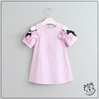 Wholesale Vertical Stripe Style - 2017 Summer New Girl Dress Vertical Stripe Bow Ruffle Sleeve Cotton Dress Children Clothing 2-7Y 701931