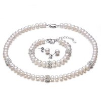 Wholesale Natural Pearls Wedding Sets - New White Color Pearl necklace Sets 8-9mm White Natural Pearl Jewelry 925 sterling silver jewelry For Women