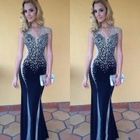 Wholesale Two Tone Formal Dresses - Bling Silver Black Two Tones Evening Dresses Formal Wear Gowns Sheath 2017 New Sheer Cap Sleeves V Neck Floor Length Prom Gowns