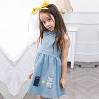 Wholesale Girls Jean Tutu Skirt - Korean Girl Summer Dress Baby Girl Denim Princess Dress Sleeveless Kids Cartoon Kitty Print Jean Skirt