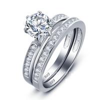 anillo de compromiso de boda de diamante real conjunto al por mayor-Chapado en oro blanco real 925 plata esterlina para mujer conjunto de anillo de bodas de compromiso de diamantes de laboratorio tamaño 6-8