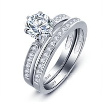 Wholesale Womens Real Diamond Ring - White gold plated real 925 sterling silver womens Engagement wedding ring set lab diamonds size 6-8