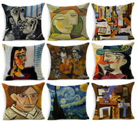 Nonwoven case decorative arts - Pablo Picasso Famous Paintings Cushion Covers The Starry Night Surrealism Abstract Art Cushion Cover Decorative Linen Cotton Pillow Case