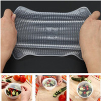 Wholesale Fresh Film - 4pcs set Magic Silicone Food Wrap Seal Cover Stretch Cling Film Fresh Keep Keep Food Fresh Cling Film
