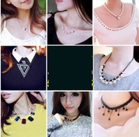 Wholesale White Twisted Pearl Necklace - Europe and the United States retro pearl necklace female Korean version of the clavicle chain Europe and the United States necklace clothing