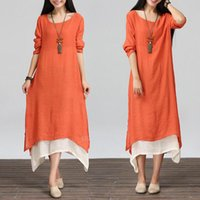 Wholesale Gypsy Clothing For Women - Plus Women Boho Cotton Linen Blouse Long Sleeve Loose Gypsy Ethnic Maxi Dress For Girls Spring Autumn Tops Kaftan Clothing