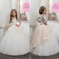 Wholesale Ivory Gold Blush Wedding - Vintage Long Sleeves Blush White Flower Girls Dresses for Weddings Princess A Line Jewel Neck Bow Sash Long First Communion Pageant Gowns