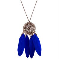 Wholesale Popular Feather Jewelry - Necklaces & Pendants for women Fashion Jewelry blue Pendant Necklace NEW brand high quality Europe popular jewelry alloy metal Retro Feather