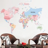 Wholesale Kids Letter Stickers - sticker tile Colored letters world map DIY Vinyl Wall Stickers Kids love Home Decor office Art Decals creative 3D Wallpaper decoration