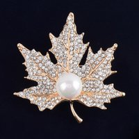 Wholesale White Pearl Costume Jewelry - Vintage Rhinestone Brooch Pin Gold-plate Alloy Pearl Leaf Jewelry Broach corsage for bridal wedding invitation costume party dress pin gift