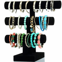 Wholesale Black Stands For Bracelets - Thread Rotation Detachable3-Layer Black Velvet Hovering T-Bar Bracelet Necklace Jewelry Display Stand for Home Organization