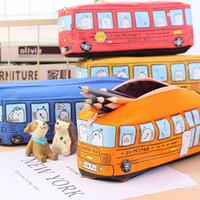 Wholesale Bus Gift Boxes - Canvas Student Stationery Bag Animal School Bus Pencil Bag Pencil Case Pencil Box Boys Girls Kids Gift School Supplies Wholesale 681