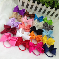 Wholesale high tails - 3inch high quality grosgrain ribbon hair bow with same color elastic headband for pony tail holder for kids headwear 20pcs lot