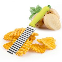Wholesale Vegetable Potato Chips - 1pc New Potato Shredders Slicers Stainless Steel Cut Potato Waves Crinkle Shape Vegetable Chips Kitchen Knife Accessories