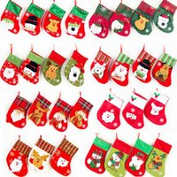 Wholesale Striped Santa Socks - Christmas Santa Sequins Socks Cute Santa Claus Snowman Stockings Candy Bag Socks Festival Party Xmas Tree Hanging Decoration OOA3264