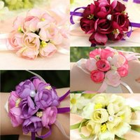 Wholesale Cheap Corsage Flowers - Beautiful Wedding2017 Hydrangea Wedding Flowers Artificial Bridal Wrist Corsage Best Selling 6 Colors Silk Bridesmaids Bouquet Cheap