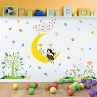 Wholesale Decorative Glass Wall Art - Cartoon Girl on Moon Tree Flowers Wall Border Decals Stickers Kids Babies Room Nursery Wallpaper Poster Art Decorative Wall Graphic Mural
