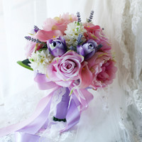 2017 Pink Blue Country Bridal Holding Broche Bouquets Rose Peony Hyacinthe Lily Tulip Silk Décoration de mariage artificiel Bridesmaids Fleurs