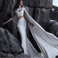 Wholesale Stylish Bridal Dresses - Stylish Said Mhamad Bridal Dress With Wrap Sexy Cutaway Side High Side Split Mermaid Wedding Dress Newest Satin Sweep Train Wedding Gowns