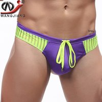 Wholesale Mens Sexy Bikini Swim - WJ Brand Mens Sexy Briefs Hot Shorts Trunks Tether Shorts Slim Man Gay Bikini Surf Board Shorts Trunks Men Swim Summer Sports Suits