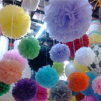 Wholesale Cheap Decorations For Weddings - 50Pcs lot Colorful Pom Poms Flower Kissing Balls Hanging Balloon for Wedding Party Decoration Supplies Cheap