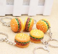 Wholesale Pizza Classic - Cute Hamburger key chains Food Pendant Key Ring Hamburger pizza bread Keychains Christmas Birthday Gift Promotion