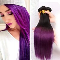 Wholesale Straight Hair Ombre Purple Human Hair Bundles Brazilian Hair Weaves B purple Tone inch Brazilian Peruvian Malaysian Indian No Sheddi