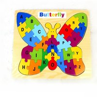 Wholesale Popular Puzzle Games - Puzzle Games Wood Butterfly Letter A-Z Case Multicolored Kids Baby Educational Toy New Brand Popular Good quality