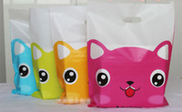 Wholesale Handled Gift Bags - Wholesale Cute Cat Plastic Bags 25x35cm , 100pcs lot Cartoon Shopping Jewelry Packaging Lovely Plastic Gift Bags With Handle