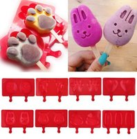 Barato Moldes Pop De Sorvete-Silicone Cartoon Cute Ice Pop Molds Popsicle Bandejas de gelo Ice Cream Maker Holder Holder Mold Ferramentas de cozinha Popsicle Molds KKA1881