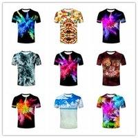 Wholesale Leopard Print Mens Tees - 2017 3D Printing Mens Tee Shirt Tiger Lion Leopard Animal Wildlife, Blue Sea and Sky Horizon, Rainbow Colored Dust Explosion T-shirt Male