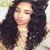 Wholesale Indian Weaving Natural Hair Colour - 2016 Hot Selling Long Weave Malaysian Human Hair Soft Deep Water Wave Wig With Natural Colour 130% Density Full Lace Front Wigs