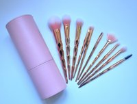 Wholesale Goat Hair Makeup Brushes Pink - HOT NEW Makeup Brush Foundation Powder Blush 10 pieces Makeup Tools DHL Free shipping+GIFT