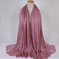 Wholesale Muslim Hijab Shawls - popular design Soft linen silk plain shawls hijab spring big size spring muslim headband wrap scarves scarf 180*110cm