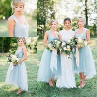 2017 Eis Blue Tulle Land Brautjungfer Kleider Lange billig Satin High Low Prom Party Maid Of Honor Kleider Custom Made Plus Größe EN11141