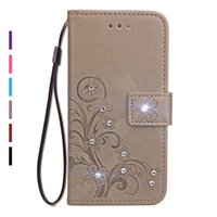 Wholesale Diamond Cases For S4 - Bling Diamond Rhinestone PU Leather Case For Samsung Galaxy S8 Plus Case Flip Wallet Stand Cover For Samsung S7 S6 Edge Plus S5 S4 S3 Mini
