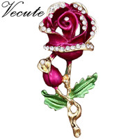 Wholesale Love Roses Clothing - Gold Plated Decorative Love Rose Brooch Pin Garment Clothes Accessories Jewelry Flower Brooch for Women Ladies Free Shipping